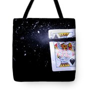 Bullet Hitting A Playing Card Tote Bag