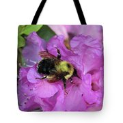 Bumble Bee On Rhododendron Blossoms Tote Bag