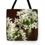 Bumble Bee On Wild Onion Flower Tote Bag