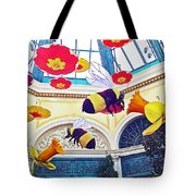 Bumble Bees And Poppies In Bellagio Conservatory In Las Vegas-nevada Tote Bag
