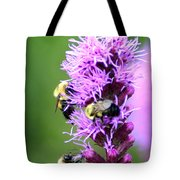 Bumblebees On Liatris Tote Bag