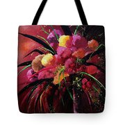 Bunch Of Red Flowers Tote Bag by Pol Ledent