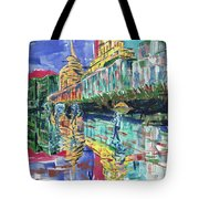 Bund In Shanghai, China, In Front Of The Custom House Clock Tower Tote Bag