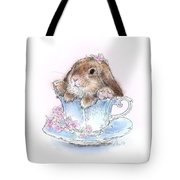 Bunny In Teacup Tote Bag
