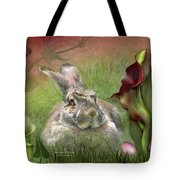 Bunny In The Lilies Tote Bag