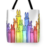 Bunny Rainbow Pattern Tote Bag