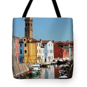 Burano An Island Of Multi Colored Homes On Canals North Of Venice Italy Tote Bag