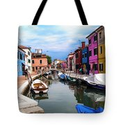 Burano Canal And Homes Tote Bag