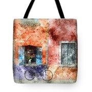Burano Italy Digital Watercolor On Photograph Tote Bag