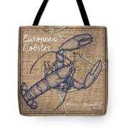 Burlap Lobster Tote Bag