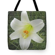 Burlap Textured Easter Lily Tote Bag