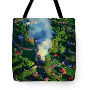 Burnin Down The House Aerial Single Family Home On Fire  Tote Bag