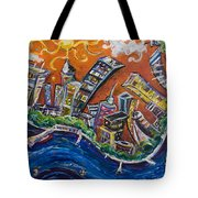 Burning City Tote Bag