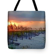 Burning Grasses And The Fence Tote Bag