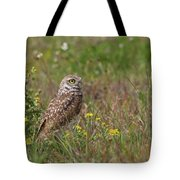 Burrowing Owl And Flowers Tote Bag