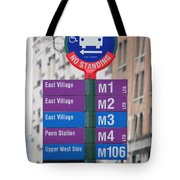 Bus Stop Sign In New York City Tote Bag