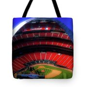 Busch Stadium A Zoomed View From The Arch Merged Image Tote Bag