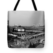 Busch Stadium From The East Garage Black And White Tote Bag