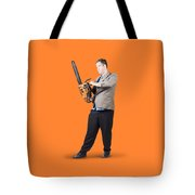 Businessman Holding Portable Chainsaw Tote Bag