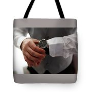 Businessman Looking At His Watch In Office Tote Bag