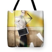 Businessman Walking In Direction Of Road Arrow Tote Bag