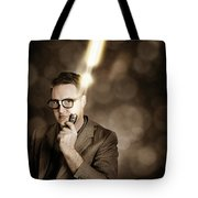 Businessman With Bright Solution Idea Tote Bag
