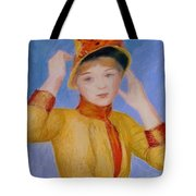 Bust Of A Woman Yellow Dress Tote Bag