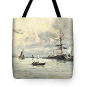 Bustling Activity In A Normandy Port Tote Bag