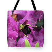 Busy Bee Collecting Pollen On Rhododendron  Tote Bag