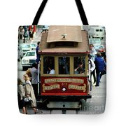 Busy Day On The California Street Cable Car Incline Tote Bag