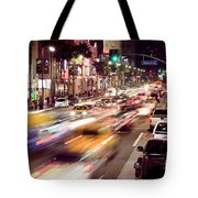 Busy Hollywood Boulevard At Night Tote Bag by Bryan Mullennix