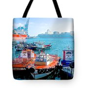 Busy Port Of Valparaiso-chile Tote Bag