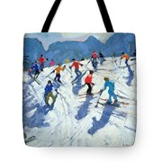 Busy Ski Slope Tote Bag by Andrew Macara