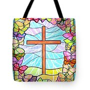 Butterflies And Cross Tote Bag