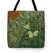Butterflies And Poppies, 1890.  Tote Bag