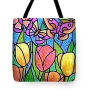 Butterflies In The Tulip Garden Tote Bag
