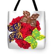 Butterflies On Roses Tote Bag