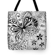 Butterfly And Flowers, Doodles Tote Bag