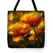 Butterfly And Flowers Tote Bag
