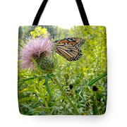 Butterfly And Pink Wildflower Tote Bag