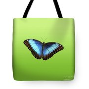 Butterfly Blue Morpho On Green Tote Bag