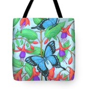 Butterfly Idyll-fuchsias Tote Bag