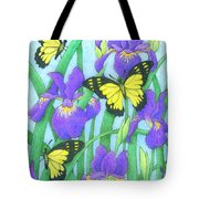 Butterfly Idyll-irises Tote Bag