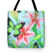 Butterfly Idyll- Lilies Tote Bag