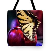 Butterfly On Apple Tote Bag