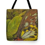 Butterfly On Leaves Tote Bag