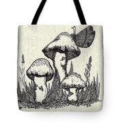 Butterfly On Mushrooms Tote Bag