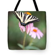 Butterfly On Pink Cone Flower Tote Bag