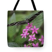 Butterfly On Pink Flowers Tote Bag