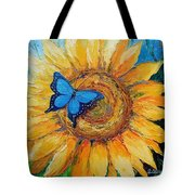 Butterfly On Sunflower Tote Bag